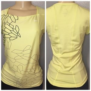 Nike Dri Fit Shirt Yellow Geometric Printed